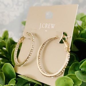 J. CREW 🌟 pave crystal golden hoops 🌟 NWT